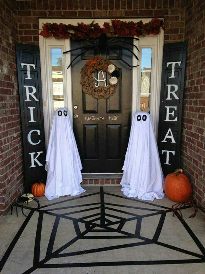 Trick or Treat Black Shutters Halloween Front Porch decor