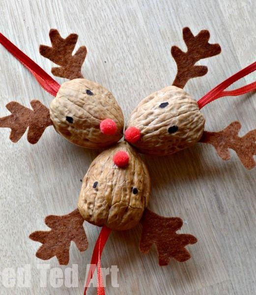 Walnut Reindeer Ornament via redtedart