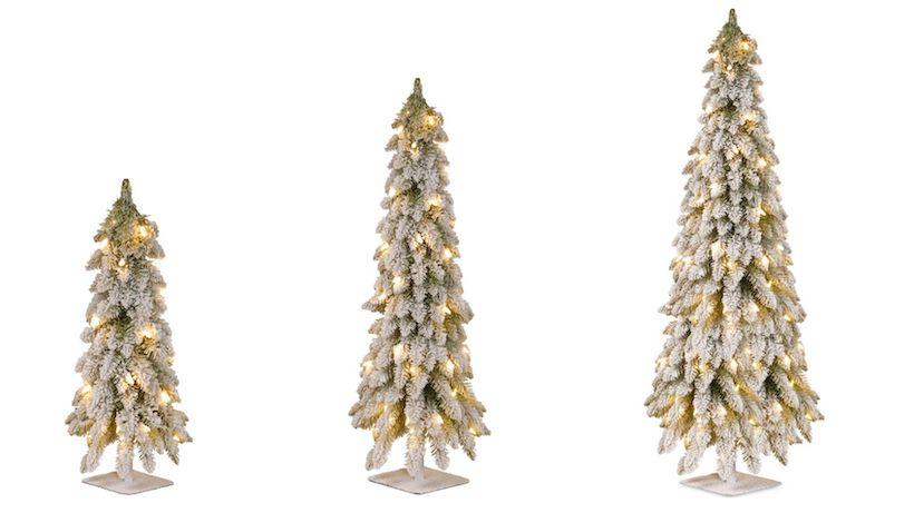 2, 3, 4, and 5 Foot Mini Slim Flocked Christmas Trees