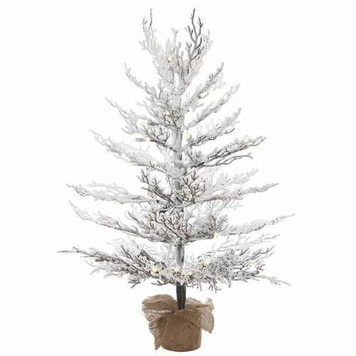 4 Foot White Pine Pre-Lit Artificial Flocked Christmas Tree