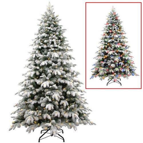 7.5 Foot Pre-Lit Flocked Christmas Tree with White and Colored Lights