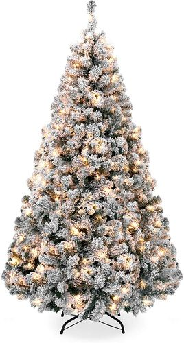 9 Foot Pre-Lit Flocked Pine Tree for Christmas