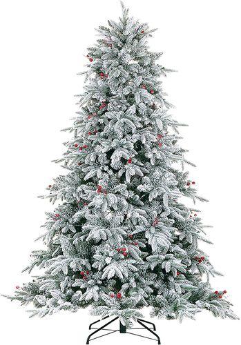 9 Foot Pre-Lit Flocked Christmas Tree with Red Berries