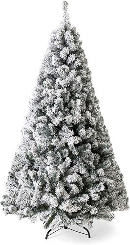9 Foot Snow Flocked Christmas Tree with Metal Stand