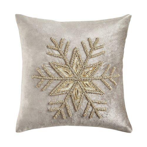Beaded Silver Snowflake Pillow