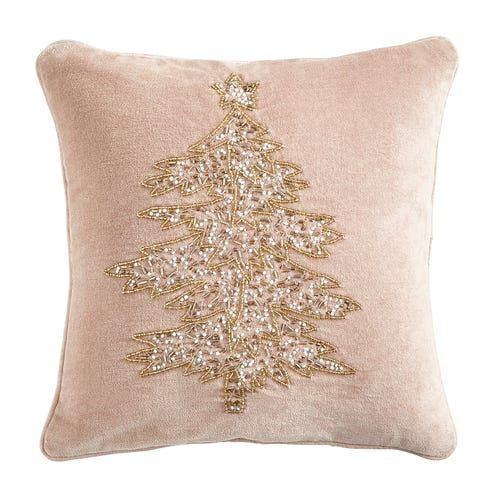Blush and Gold Christmas Tree Pillow