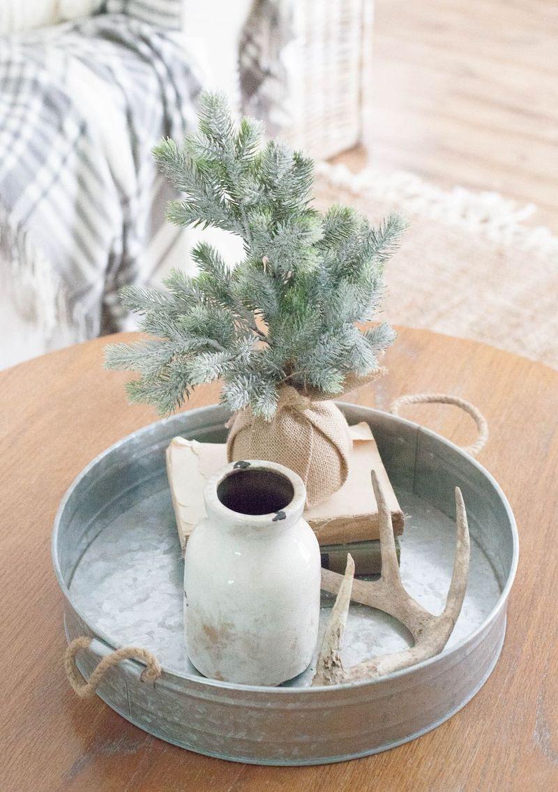Burlap Wrapped Christmas Tree Decor via LaurenMcBride