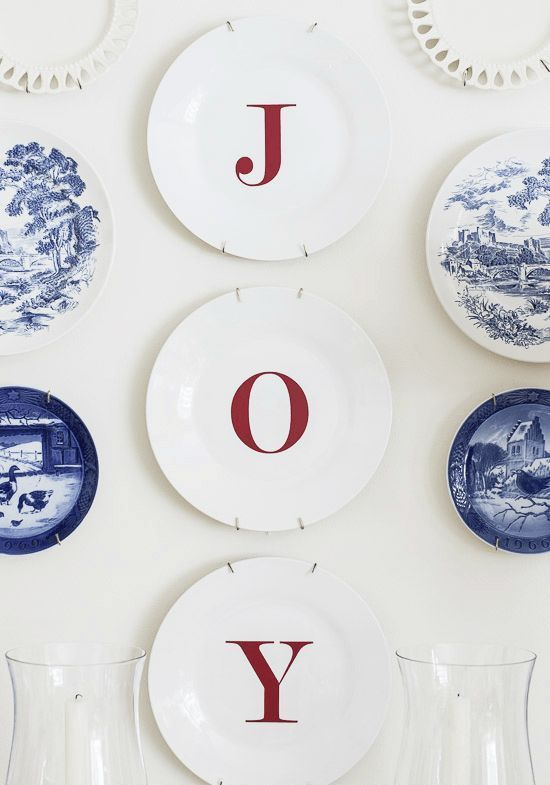 DIY Joy Decal Wall Plates via onsuttonplace