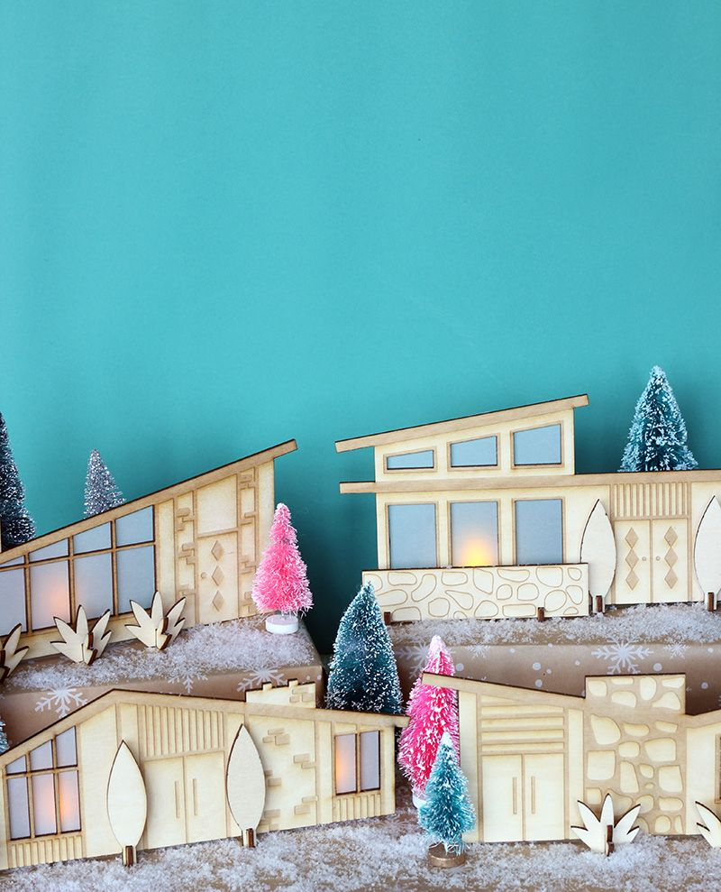 DIY Mid-century Modern Christmas Village via thesweetescape