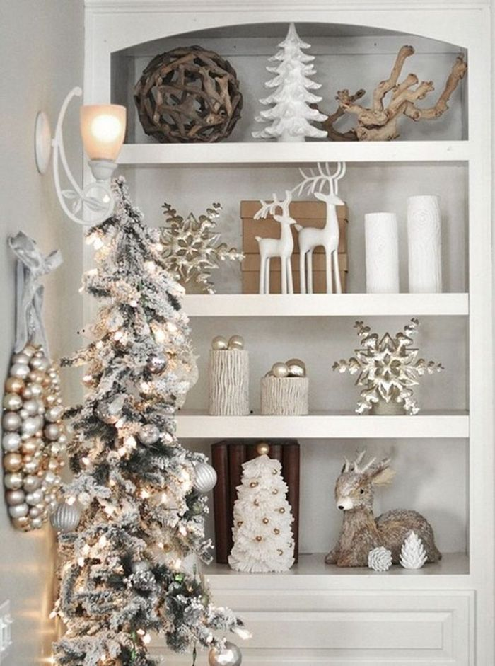 Elegant Neutral Vintage Christmas Shelving Decor
