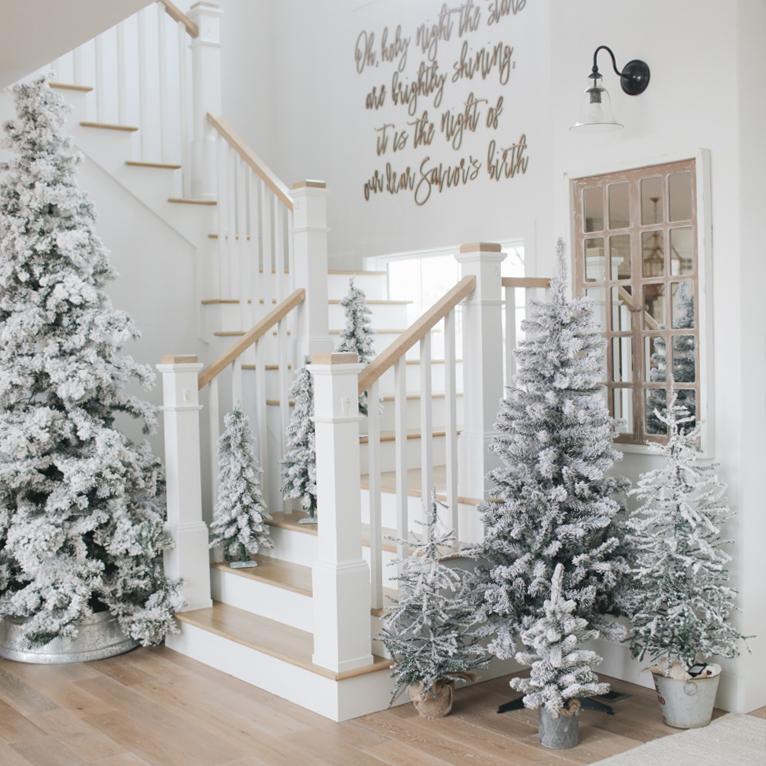 Flocked Christmas Trees Decor via ninawilliamsblog