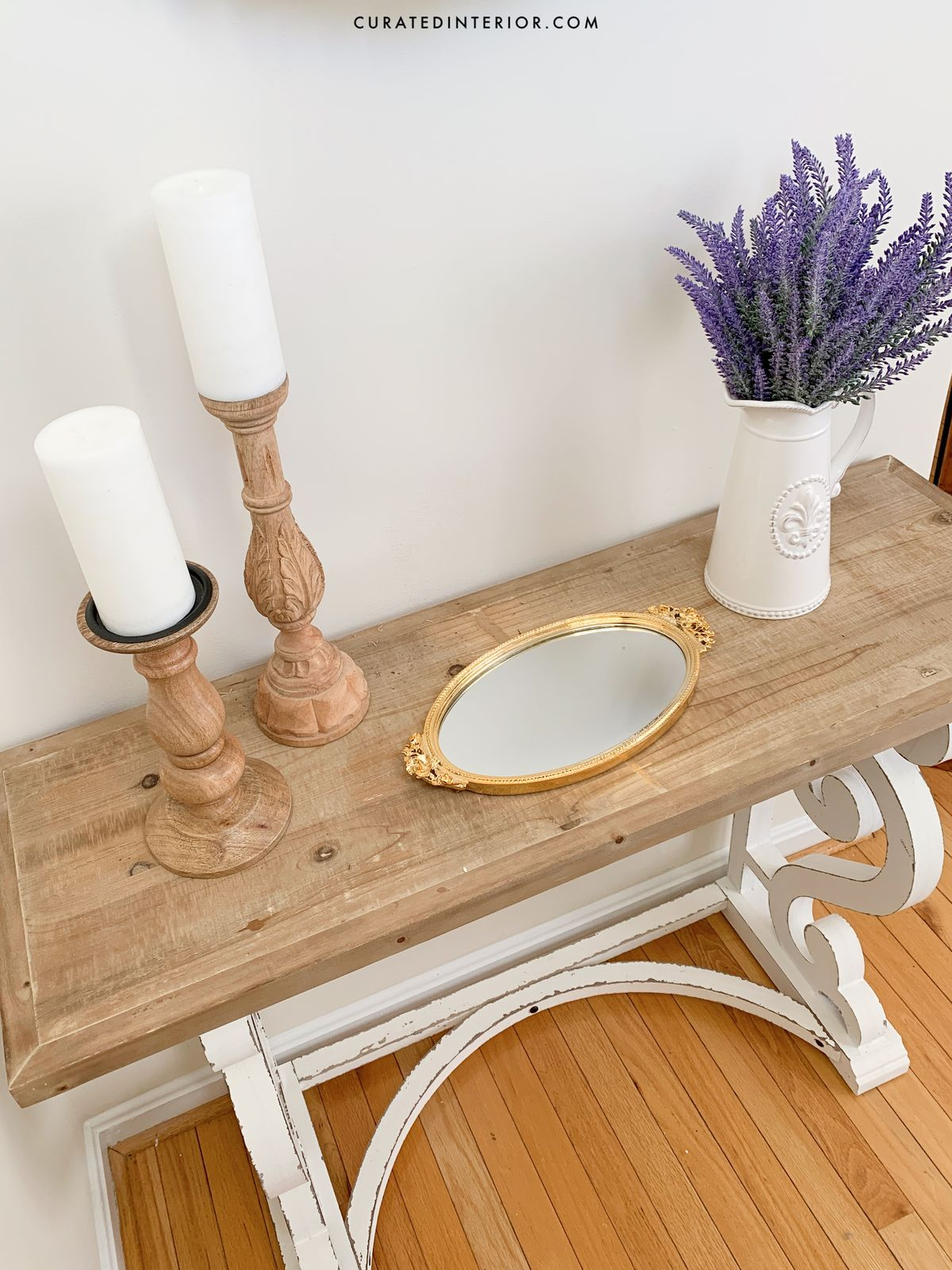 French Country Console Table with Wood Candlesticks, Vintage Mirror Tray and White Pitcher with Lavender