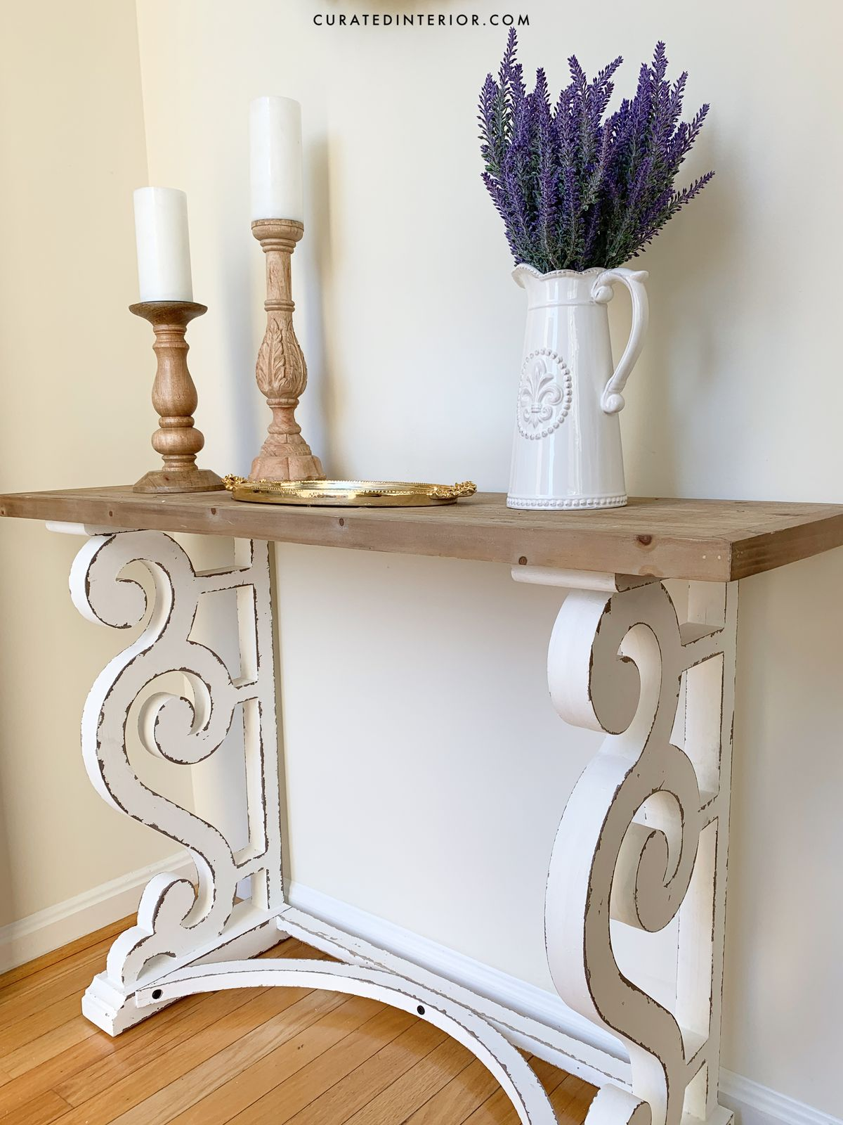 French Country Entryway with Rustic Wood Console Table Perfect for a French Farmhouse or French Country House