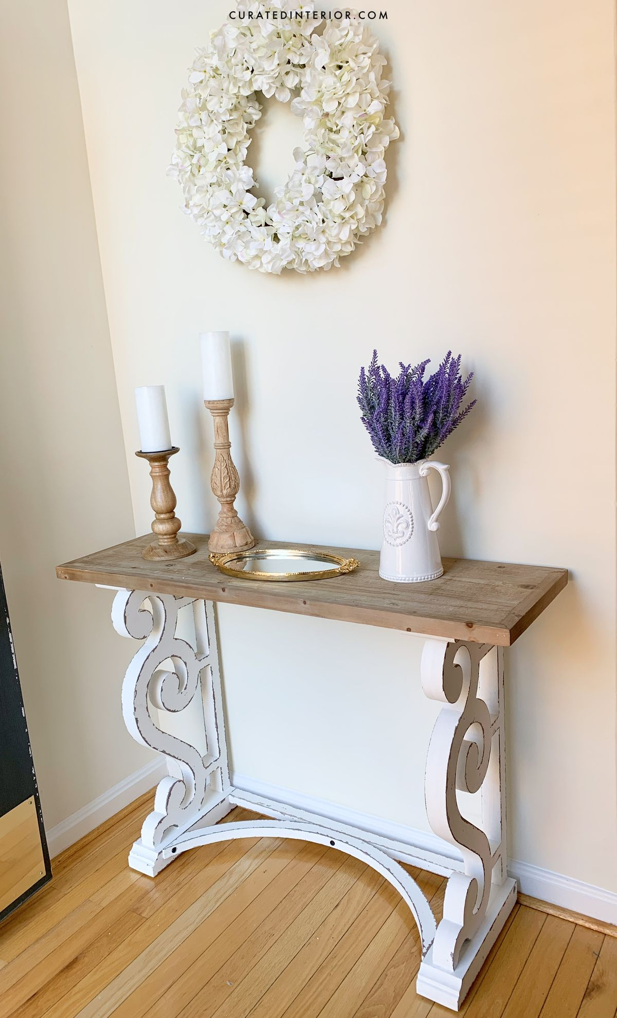 French Country Entryway with Distressed Wood Console Table