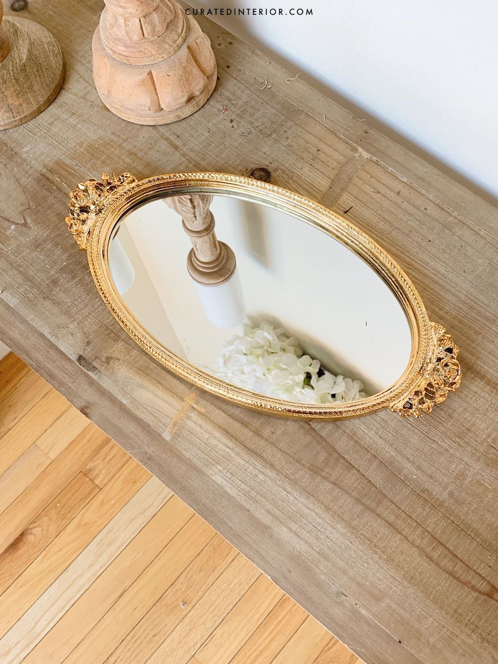 French Country Vintage Gold Mirror Tray on Wood Console Table