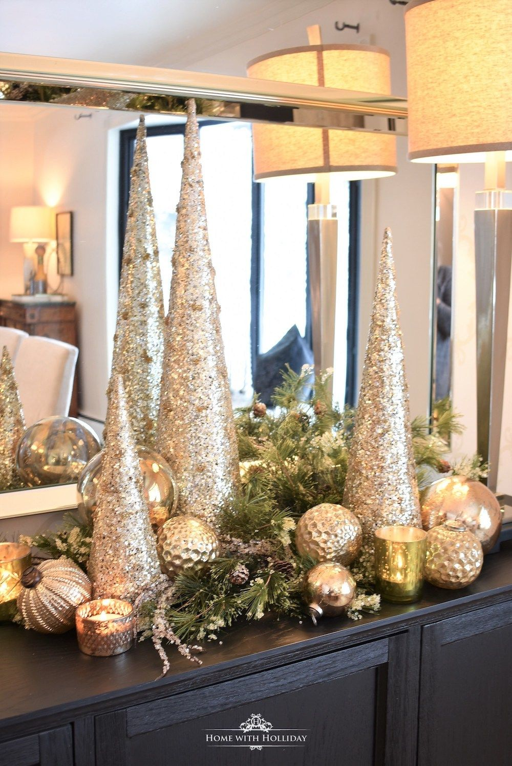 Glam Christmas Decorations via Home With Holliday