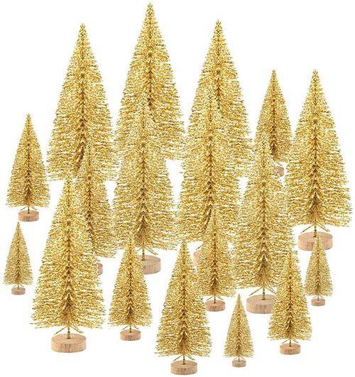 Gold Mini Bottle Brush Trees