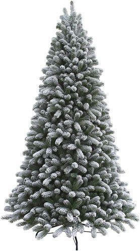 King of Christmas 7.5 Foot King Flock Tree, Unlit, for Christmas