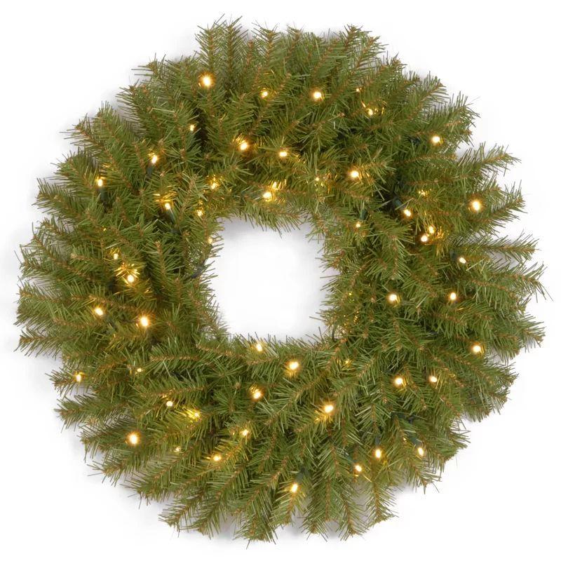 Lighted Pine Wreath