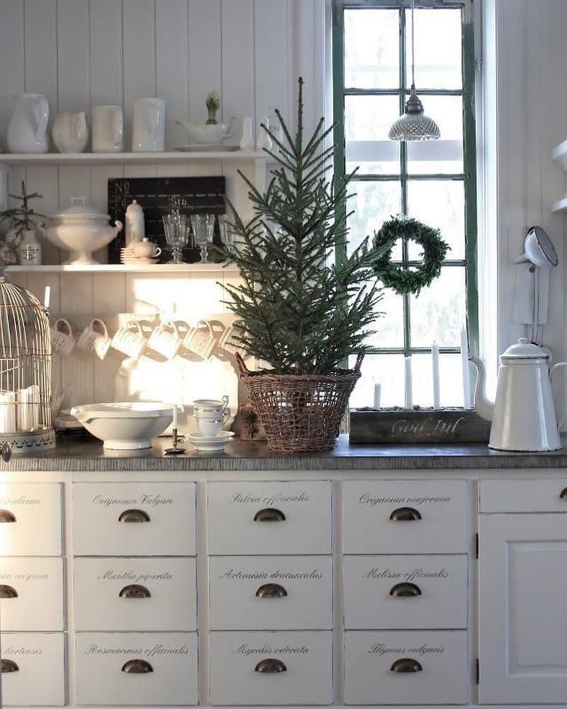 Mini Christmas Tree in Nordic Country Kitchen