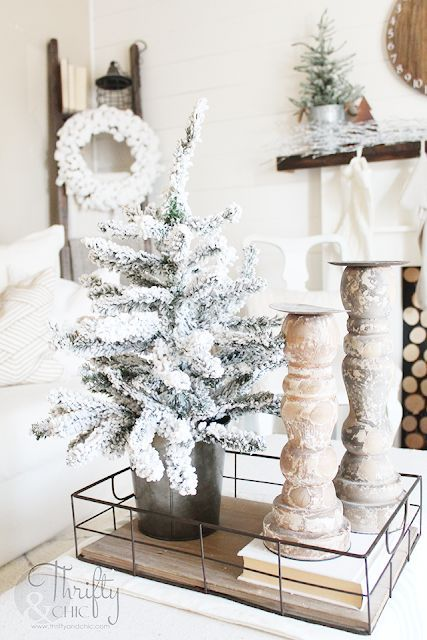 Mini White Flocked Christmas Tree Decor via thriftyandchic