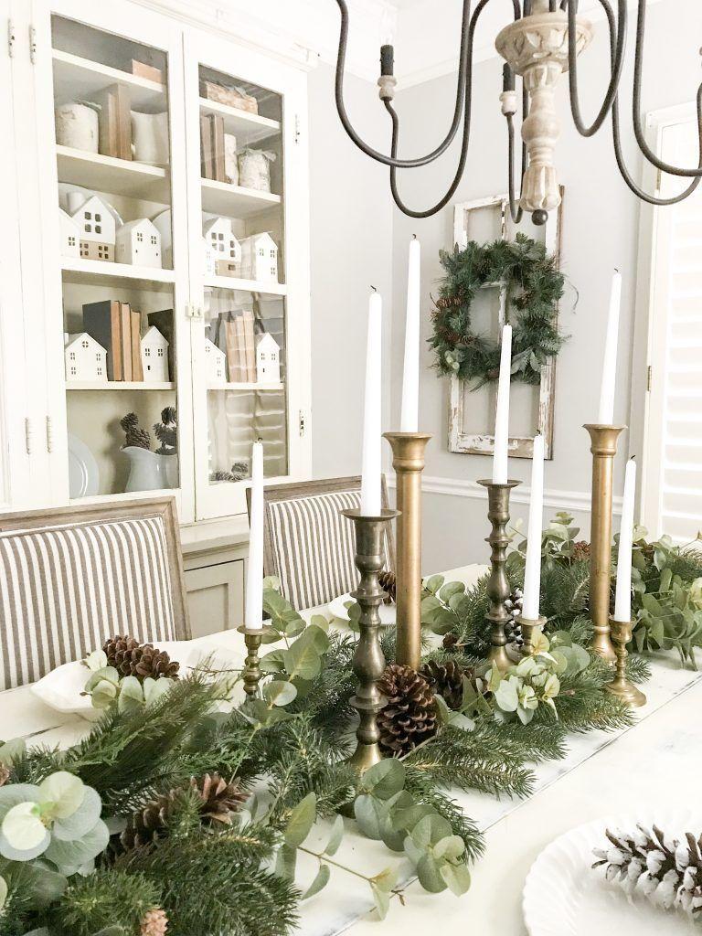 Neutral Christmas Dining Room Decor via blessthisnestblog
