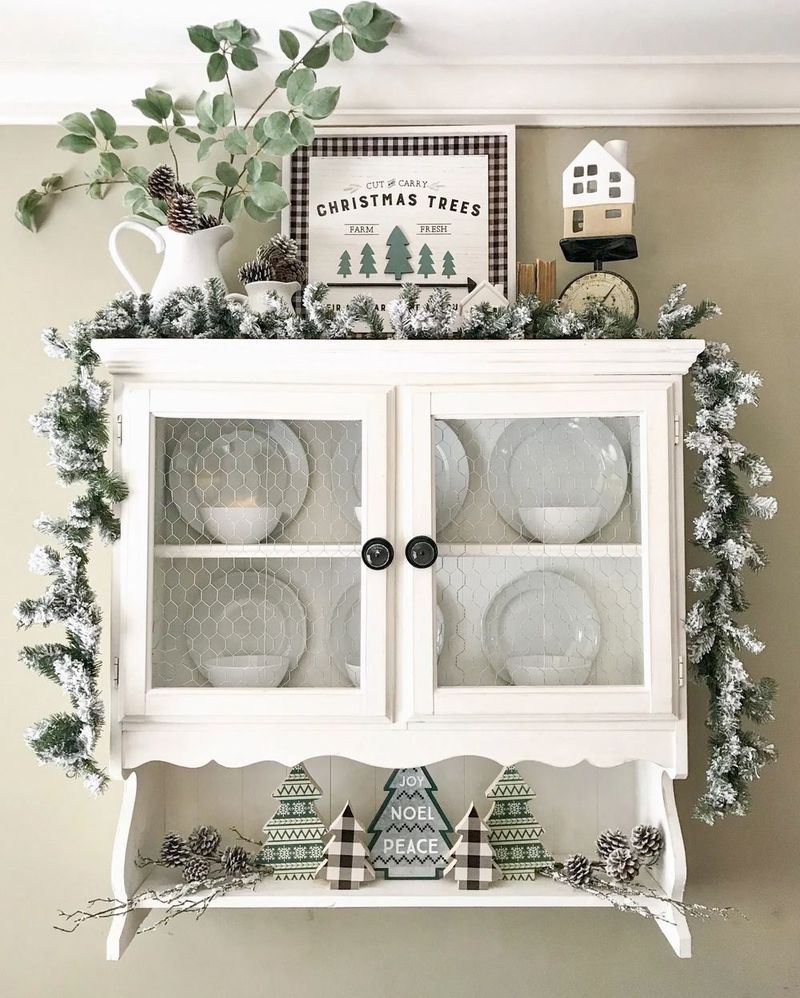 Neutral Christmas Hutch Decor via blessthisnestblog