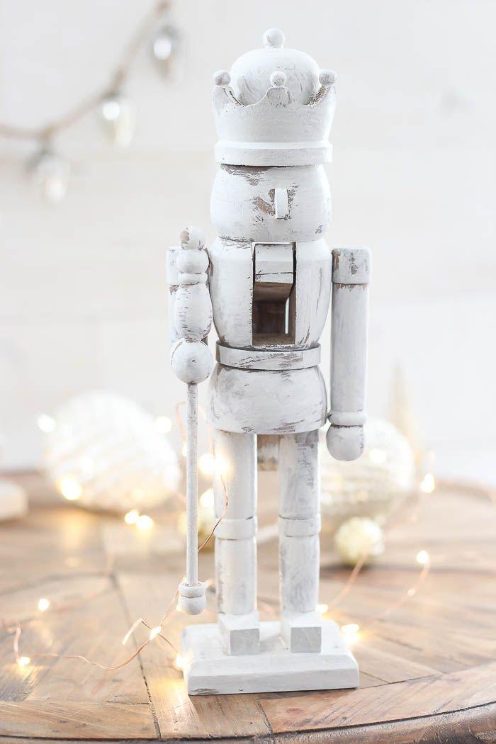 Neutral DIY Whitewashed Nutcracker Christmas Decoration via roomsforrentblog