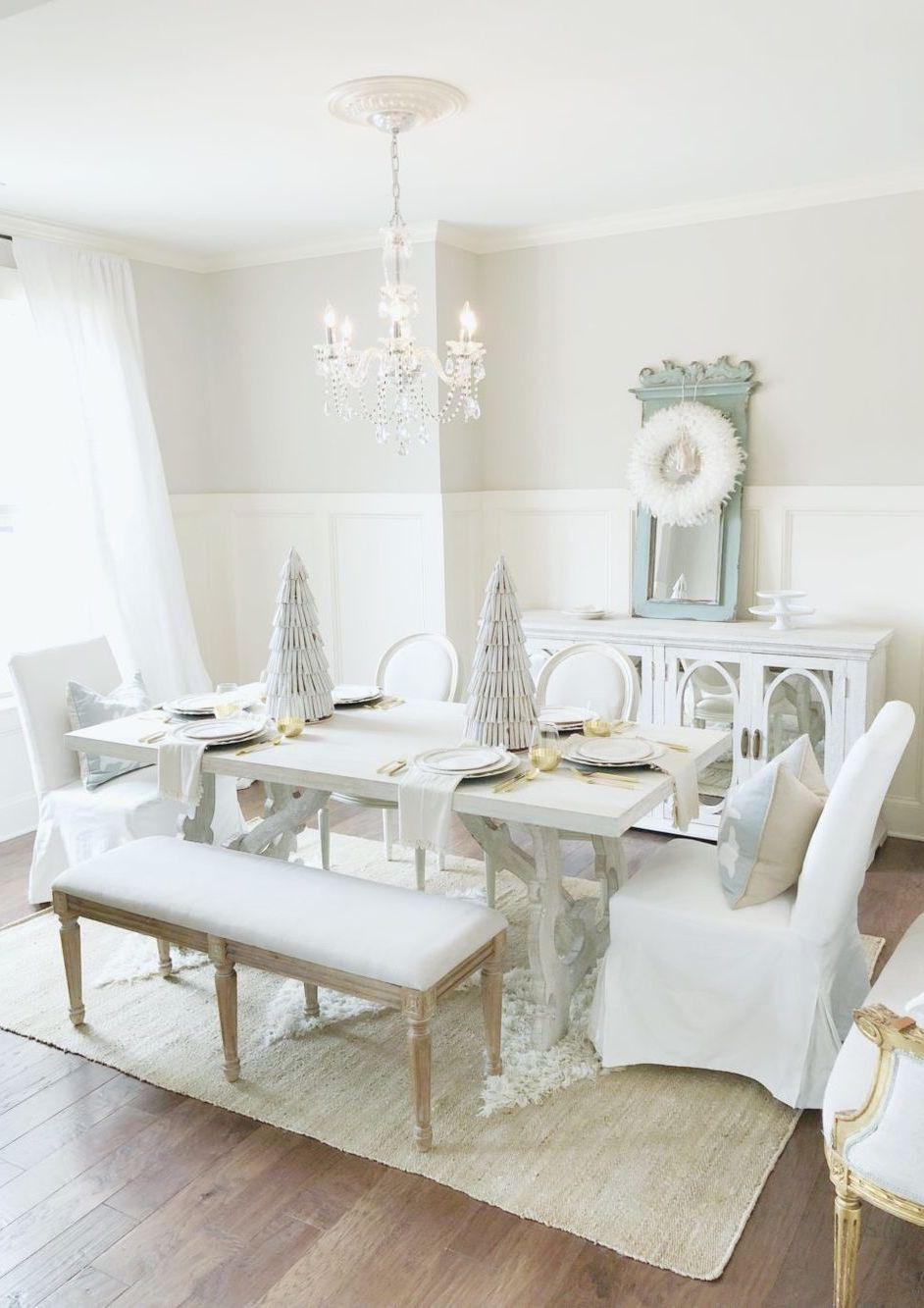 Neutral white Christmas Dining Room Decor via Megan Manton
