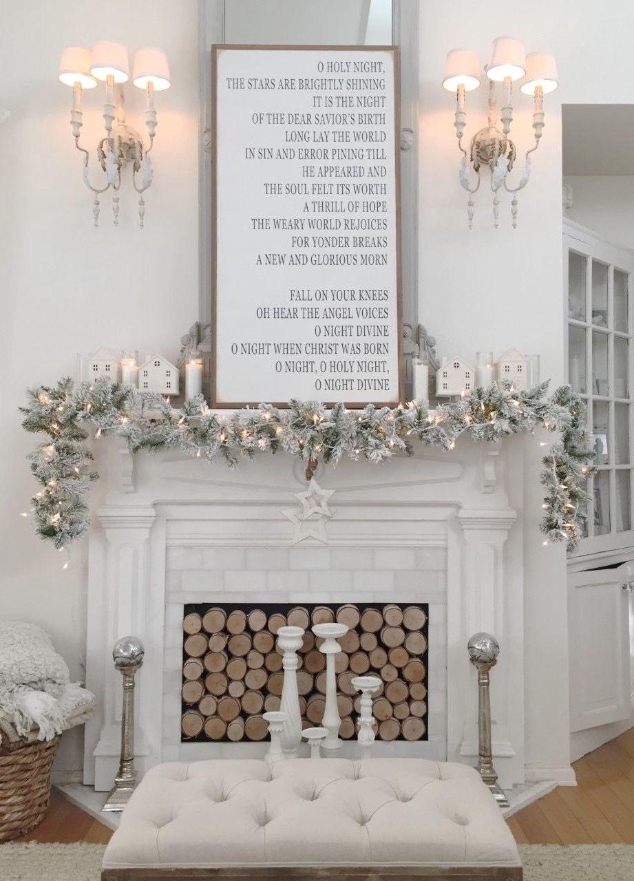 Neutral white Christmas Mantel Decor via Sara Hanson