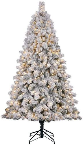 Pre-Lit 7 Foot White Frost Flocked Pine Christmas Tree