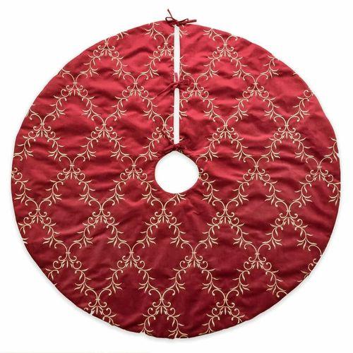 Red Floral Embroidered Velvet Tree Skirt