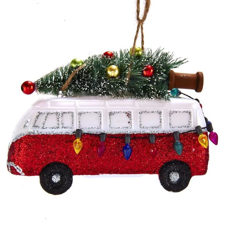 Traditional Christmas Decorations - Retro Van with Tree Ornament