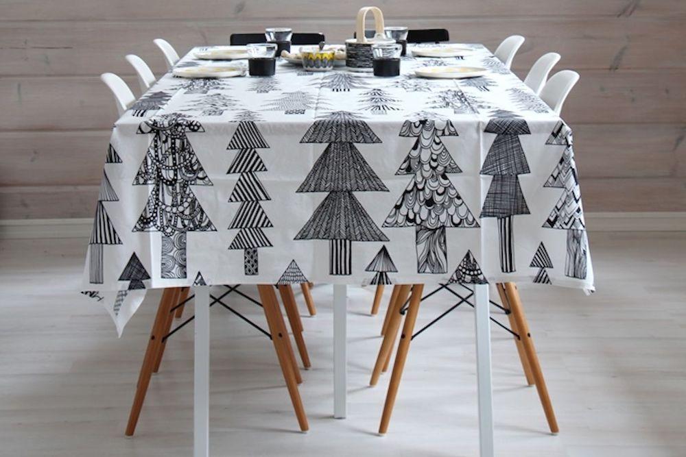 Scandi Black and White Christmas Tree Tablecloth via Kaikki Mitä Olen of Finland