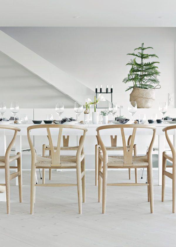 Scandi Christmas Dining Room Decor with Wishbone Chairs via Stylizimo