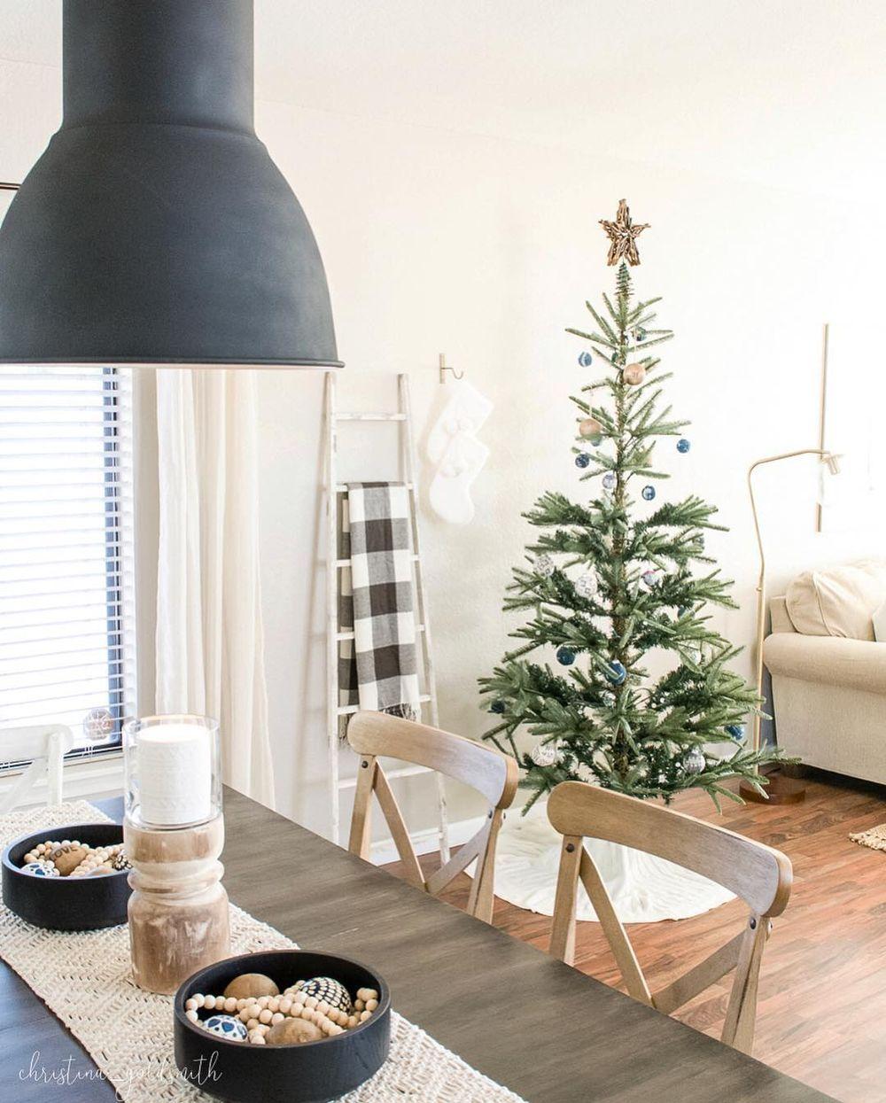 Scandi Christmas Dining Room with Wall Ladder via @christina_goldsmith