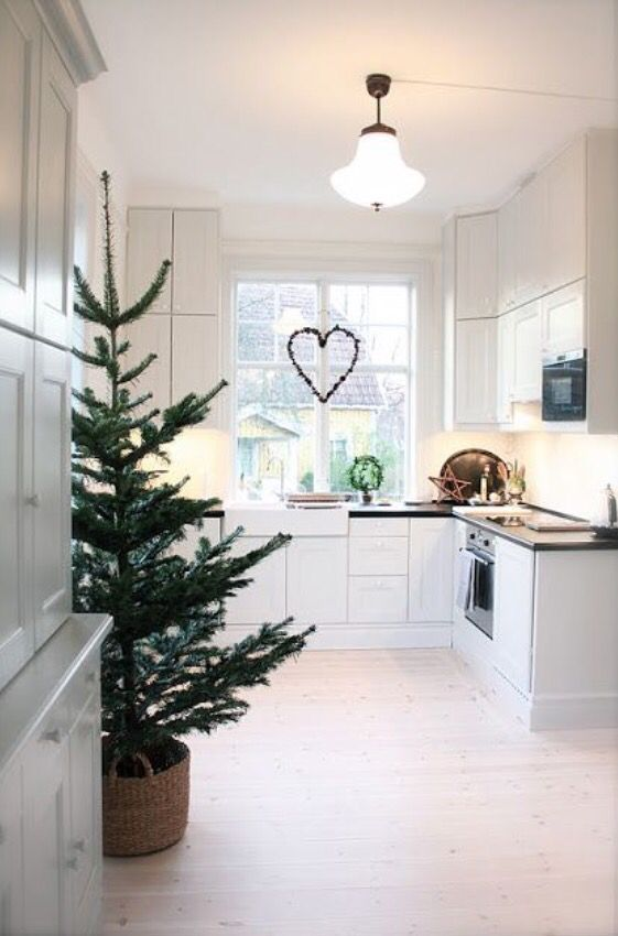 Scandi Christmas Kitchen Decor with Heart on the window