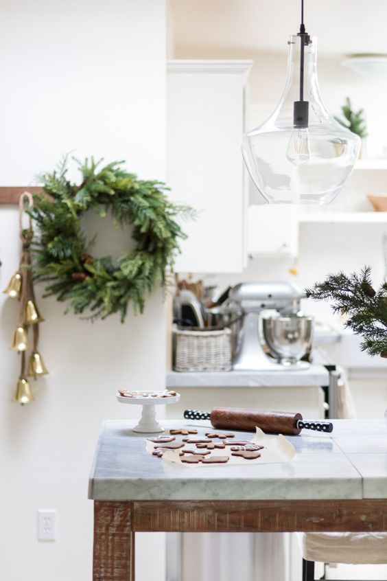 Scandi Christmas Kitchen Decor with gold bells and wreath