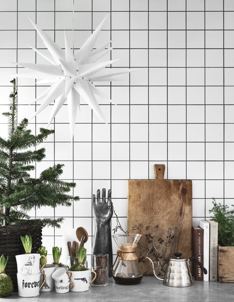 Scandi Christmas Kitchen countertop decor via Kristofer Johnson via Residence Magazine