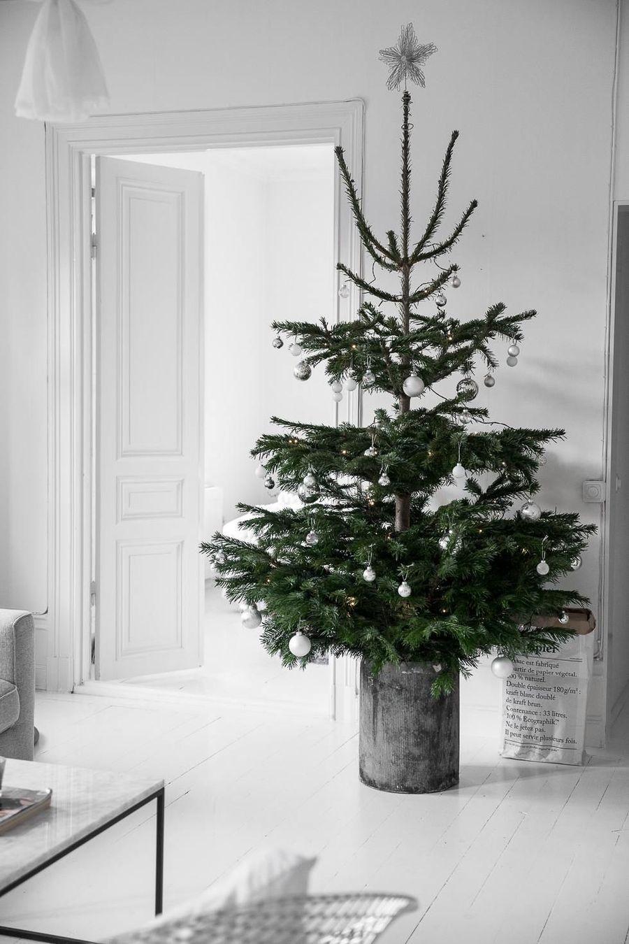 Scandi Christmas Tree in Galvanized Bucket via damernasvarld