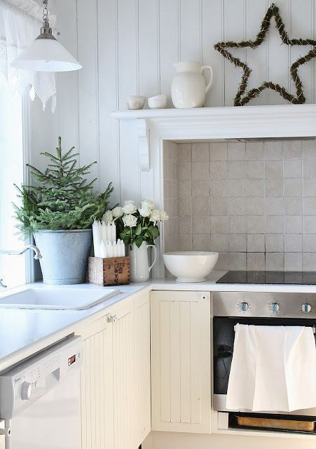 Scandi Star Decor and mini Christmas tree in Nordic Country Home Kitchen