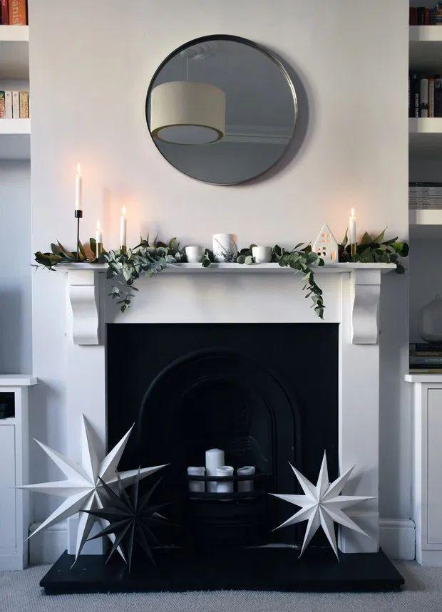 Scandinavian Christmas Mantel Decor with White Stars via thesefourwallsblog