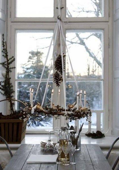Scandinavian Hanging Candle Wreath Decoration
