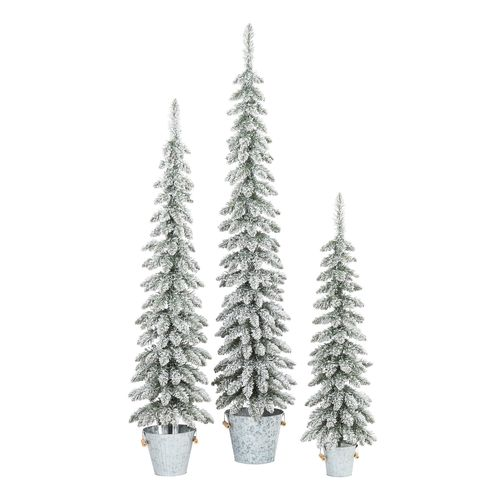 Set of 3 Flocked Christmas Trees in Galvanized Buckets