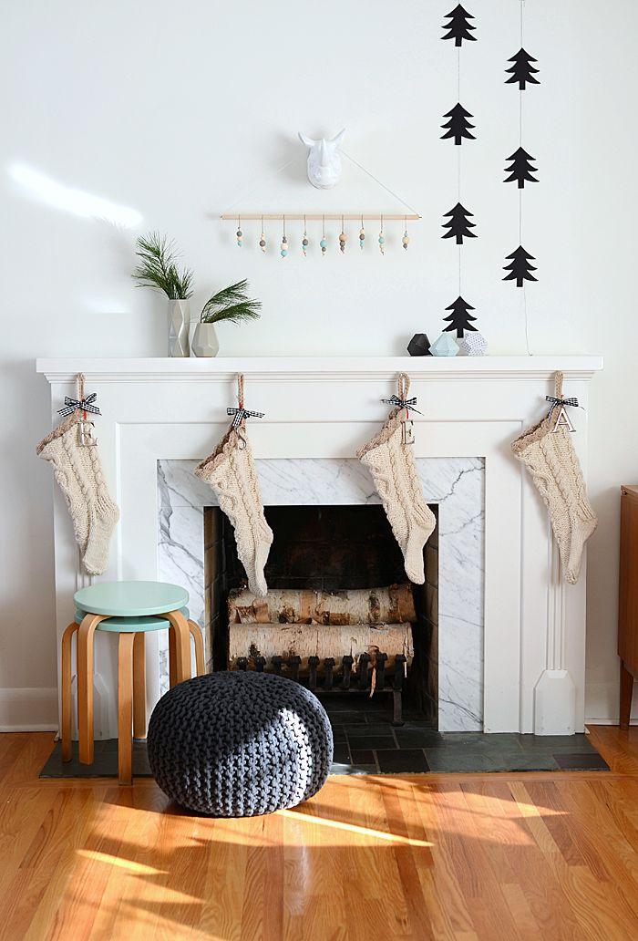 Simple Scandi Christmas Mantel Decor via nalleshouse