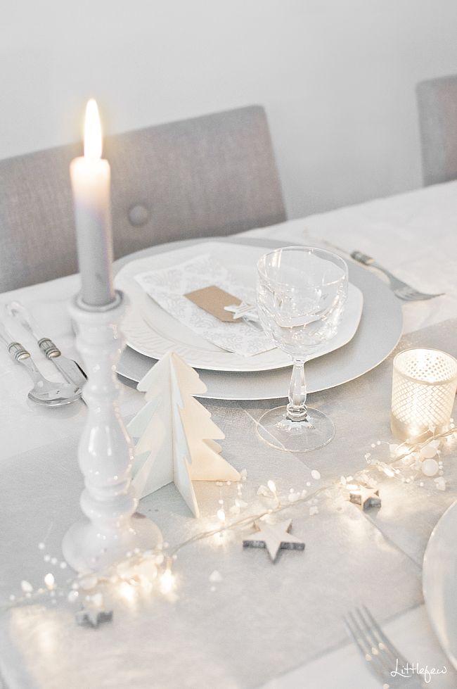 White Christmas Tablescape Decor via littlefew