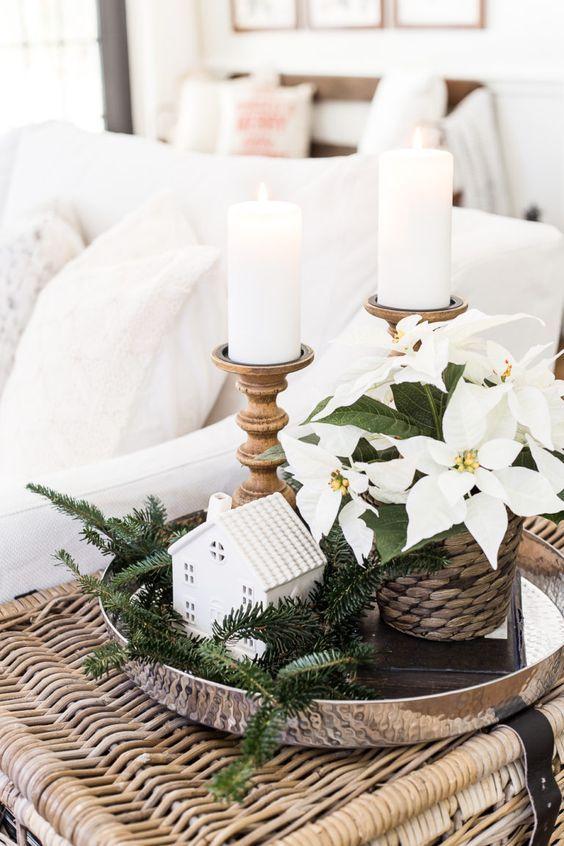 White Poinsettias via @BlesserHouse