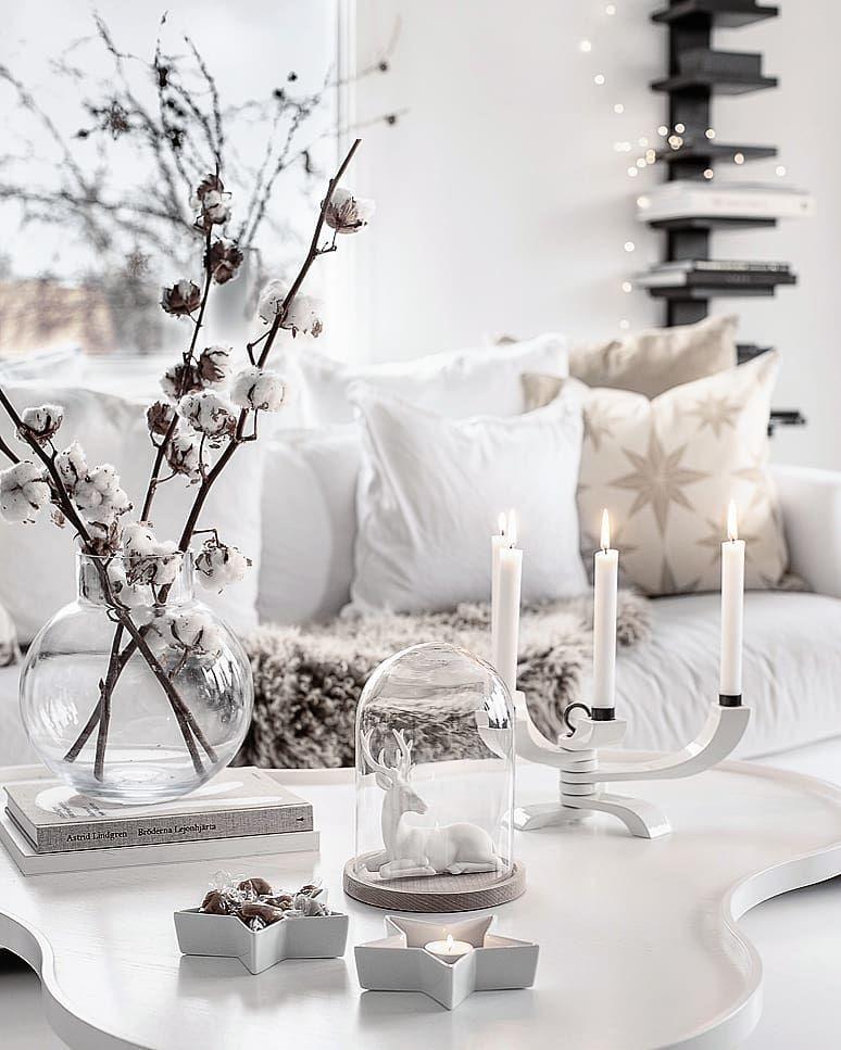 White Scandi Christmas Living Room Coffee Table Decor via @home2tiny
