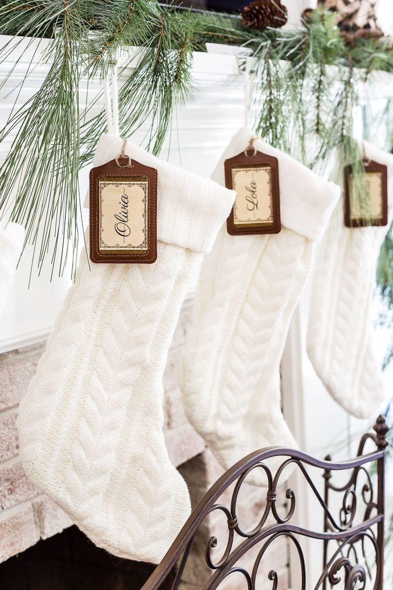 White cableknit Christmas Stockings via blesserhouse
