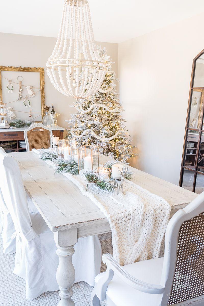 Winter White Christmas Neutral Dining Room Decorating via homestoriesatoz